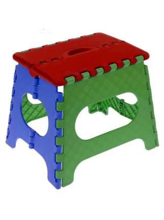 Табурет Трикап складной пластиковый средний, красный/салатовый/синий