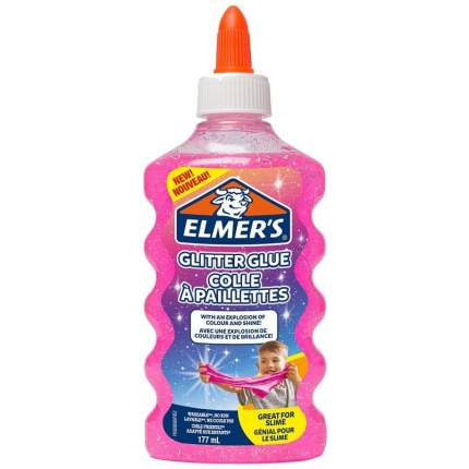 Клей для слайма Elmers Glitter glue розовый 177 мл