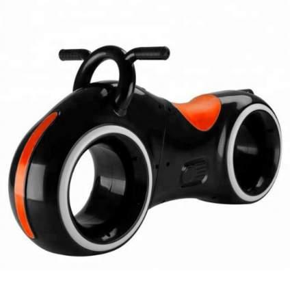 Беговел Трон, встроенные колонки, Bluetooth, подсветка LED (черный с красным)