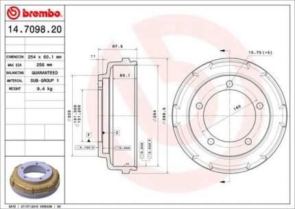 Тормозной барабан BREMBO 14.7098.20