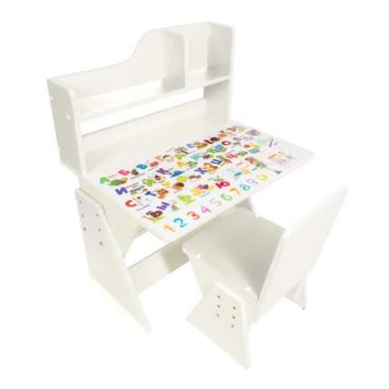 Детская растущая парта и стул Первое место рисунок, белый,