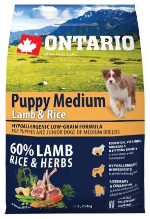 Сухой корм для щенков Ontario Puppy Medium, для средних пород, ягненок и рис, 2,25кг
