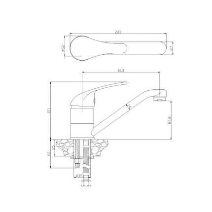 Смеситель для раковины Rossinka Silvermix Y40-22 хром