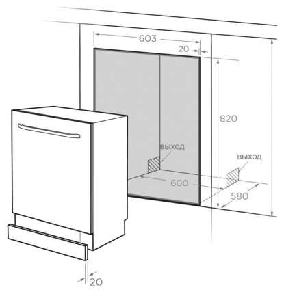 Встраиваемая посудомоечная машина 60 см Midea MID60S900