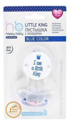 "Пустышка с держателем ""LITTLE QUEEN & LITTLE KING"" blue Happy Baby"