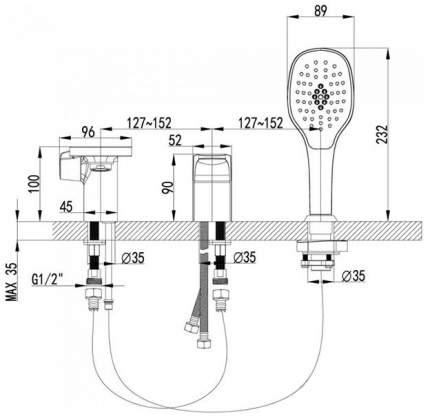 Смеситель для ванны на борт LEMARK Shift LM4347C хром