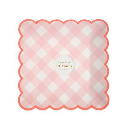 Тарелки розовые клетка Гингем маленькие