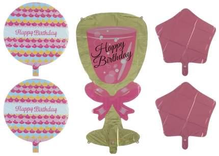 """Букет из шаров """"С днем рождения"""", бокал, фольга,  набор из 5 шт. Sima-Land"""