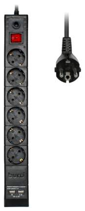 Сетевой фильтр BURO BU-SP3_USB_2A-B, 6 розеток, 3 м, Black