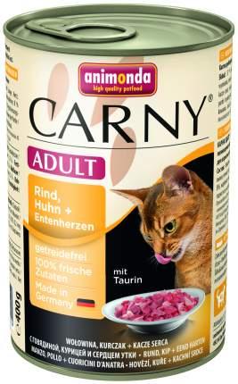 Консервы для кошек Animonda Carny Adult, говядина, курица, утка, 6шт, 400г
