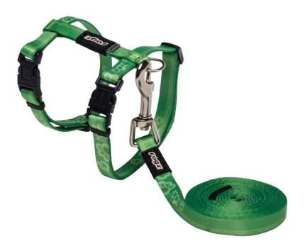 Комплект поводок и шлейка для кошек Rogz KiddyCat S-11мм 1,8 м (Зеленый CLJ07L)
