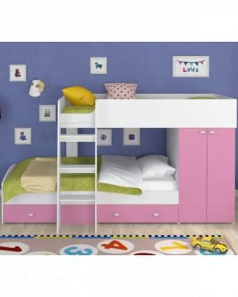 Двухъярусная кровать Golden Kids 2 белая/розовая