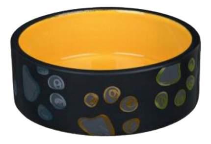 Одинарная миска для кошек и собак TRIXIE, керамика, оранжевый, черный, 0.3 л