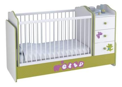 Кровать-трансформер Basic Elly с комодом белый-зеленый Polini