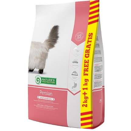 Сухой корм для кошек Nature's Protection персидской породы, курица, индейка и утка, 3 кг