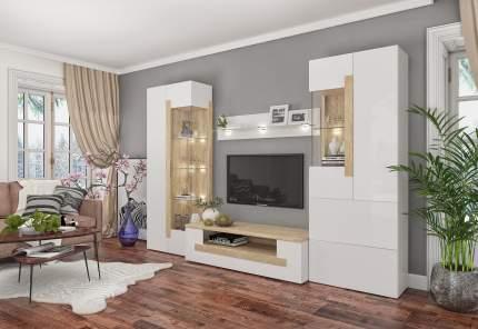 Стенка-горка в гостиную Милана 1721.м2 Сонома / Белый, С подсветкой