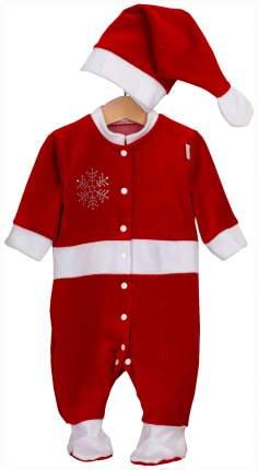 """Комплект """"Дед Мороз"""", коллекция """"Новогодняя"""", цвет: красный, декор: стразы, рост 74-80 см"""
