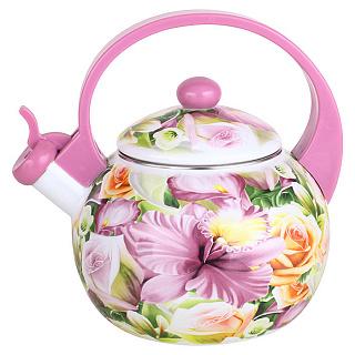 Чайник для плиты METALLONI ЕМ-25101/8 Орхидея эмалированный со свистком 2,5 л. (6)
