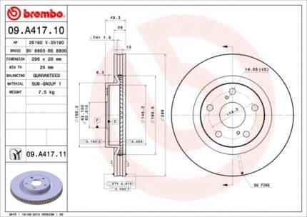 Тормозной диск brembo 09A41711