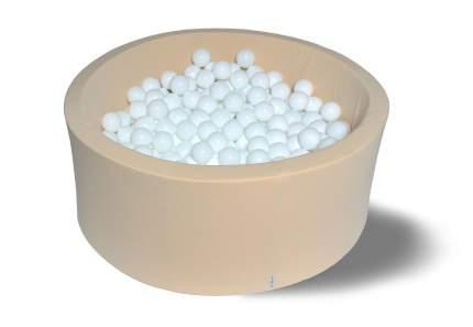 Сухой игровой бассейн Ванильный снег бежевый 40см с 200 шарами: белые
