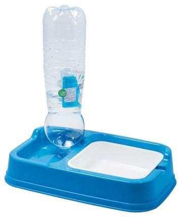 Кормушка-автопоилка для кошек и собак Georplast, под бутылку, голубой