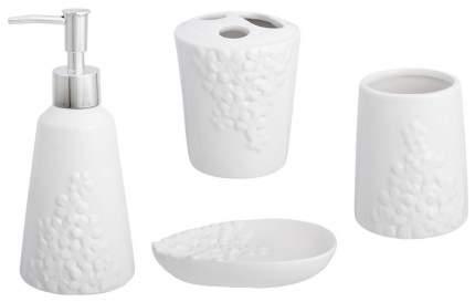 Набор для ванной Elan Gallery «Цветочки» 4 предмета Белый