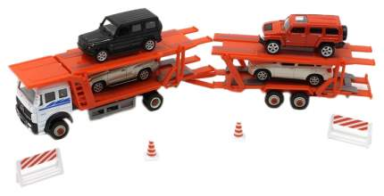 Набор пластиковых машинок Welly автовоз с 3 вседорожными машинами 68023A