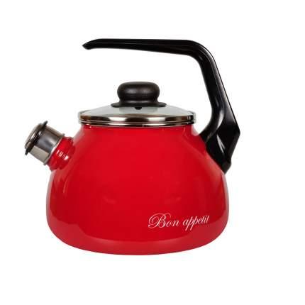 Чайник для плиты СТАЛЬЭМАЛЬ 1RA12 2 л вишневый