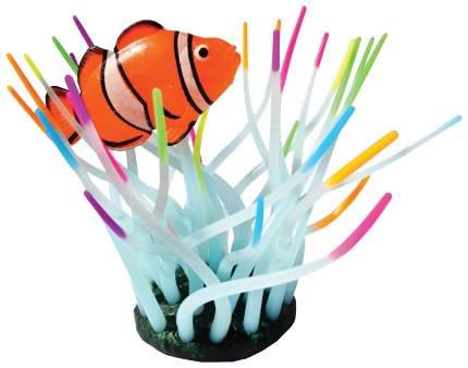 Декорация для аквариума JELLY-FISH Актиния с рыбой Клоун, силикон, радужная, 11х8х14,5 см
