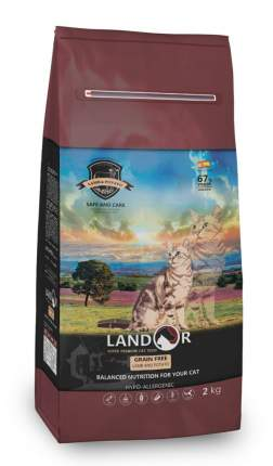 Сухой корм для кошек Landor Grain Free HAIRBALL&WEIGHT CONTROL, ягненок, 2кг