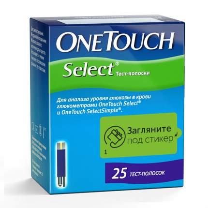 Тест-полоски для глюкометра OneTouch Select для измерения уровня глюкозы 25 шт.