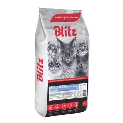 Сухой корм для кошек BLITZ Sensitive Sterilised, для стерилизованных, индейка, 10кг