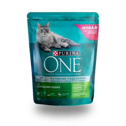 Сухой корм для кошек ONE, для домашних, индейка, 0,75кг