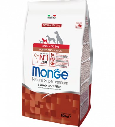 Сухой корм для щенков Monge Speciality Mini Puppy&Junior, для мелких пород, ягненок, 0,8кг