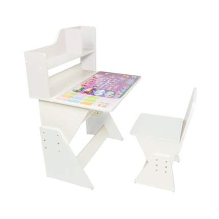 Детская растущая парта и стульчик Первое место Леди рисунок, белый,