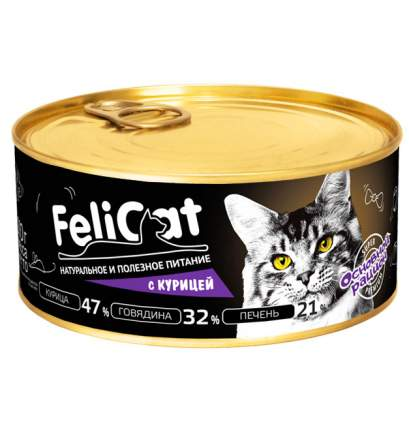 Консервы для кошек Felicat Основной рацион, с курицей, 290г