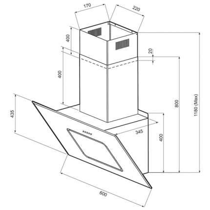 Вытяжка наклонная Krona Kirsa 600 glass sensor White