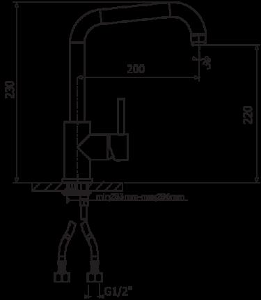 Смеситель для кухонной мойки Florentina Delta AV 33.23H.1110.302 антрацит