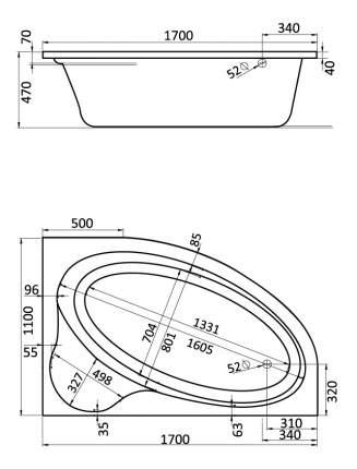 Акриловая ванна Santek Эдера 170х110 без гидромассажа правая
