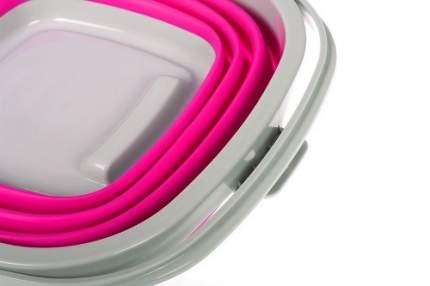 Ведро складное силиконовое, квадратное, 5 л, цвет: розовый