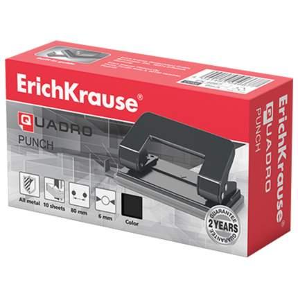 Дырокол Erich Krause Quadro, металлический, малый, на 10 листов, Черный 4667
