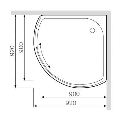 W53T-315-090W64 BLISS L Solo Slide, поддон для душ, уголка, 90x90, белый акрил