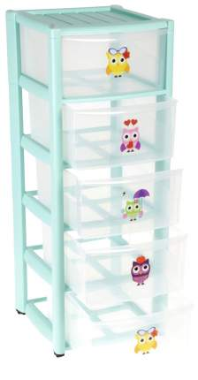 Ящик для игрушек Пластишка На колесах 5 ящиков, зеленый