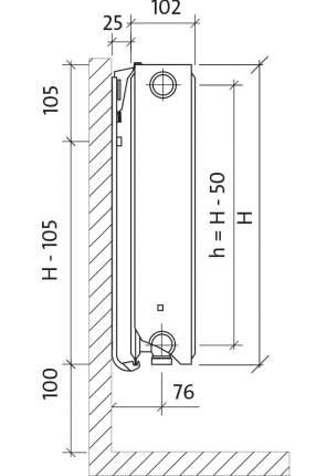 Радиатор стальной Purmo Тип 22 CV22 300x1000