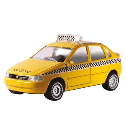 Машинка Технопарк инерционная, металлическая Лада-калина такси, со светом и звуком