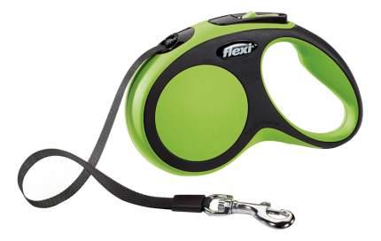 Рулетка-поводок FLEXI New Comfort S до 15кг лента, 5м, черный, зеленый