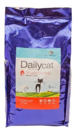 Сухой корм для кошек Dailycat индейка и рис, 3кг