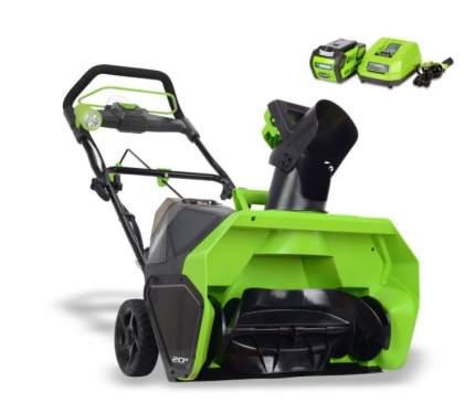 Аккумуляторный снегоуборщик Greenworks GD40STK4 2600607 АКБ и ЗУ в комплекте