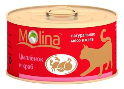 Консервы для кошек Molina, с цыпленком и крабами в желе, 80г