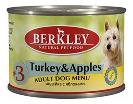 Консервы для собак Berkley Menu, индейка, яблоко, 200г